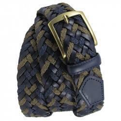 Cinturón MV36533 trenzado de cuero y lona
