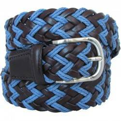 Cinturón BE455 trenzado marrón y azul